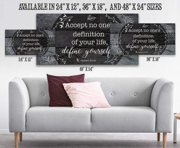 Accept No One's Definition - Large Canvas (Not Printed on Wood) - Stretched on Wood - Wedding Gift Wall Hangings Lone Star Art