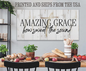 Amazing Grace-Large Canvas(Not Printed on Wood)Stretched on Wood-Living Room Decor-Housewarming Gift