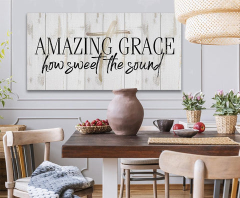 Image of Amazing Grace-Large Canvas(Not Printed on Wood)Stretched on Wood-Living Room Decor-Housewarming Gift
