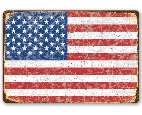 Image of American Flag Grunge - Metal Sign.