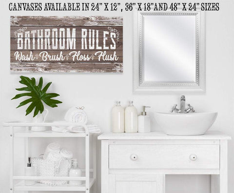 Image of Bathroom Rules - Canvas.