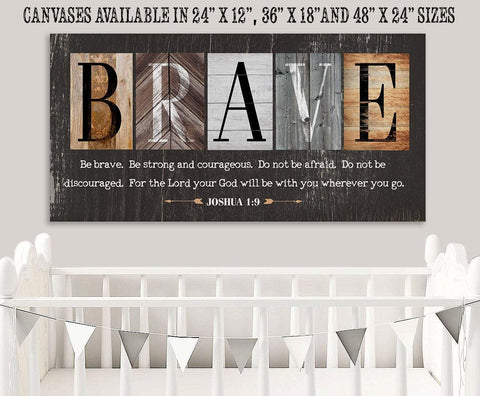 "Image of Be Brave Be Strong-Large Canvas(Not Printed on Wood)Stretched on Wood-Ready to Hang- Inspirational Decor and Gift for Children's Room Wall Hangings Lone Star Art 12""x24"" Stretched"