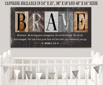 "Be Brave Be Strong-Large Canvas(Not Printed on Wood)Stretched on Wood-Ready to Hang- Inspirational Decor and Gift for Children's Room Wall Hangings Lone Star Art 12""x24"" Stretched"