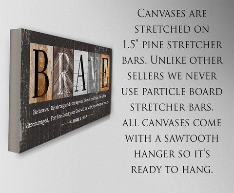 Image of Be Brave Be Strong-Large Canvas(Not Printed on Wood)Stretched on Wood-Ready to Hang- Inspirational Decor and Gift for Children's Room Wall Hangings Lone Star Art