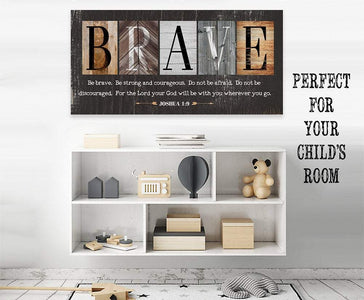 Be Brave Be Strong-Large Canvas(Not Printed on Wood)Stretched on Wood-Ready to Hang- Inspirational Decor and Gift for Children's Room Wall Hangings Lone Star Art