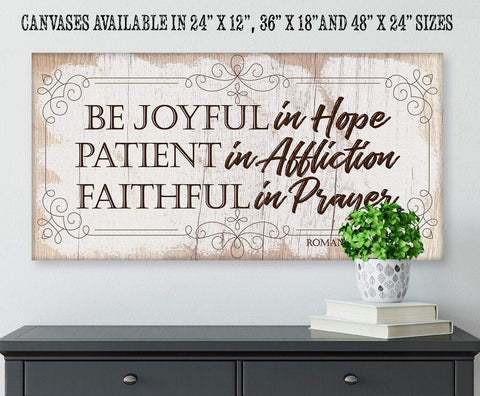 "Image of Be Joyful In Hope-Large Canvas(Not Printed on Wood)-Stretched on Heavy Wood Frame- Great Religious Housewarming Gift Wall Hangings Lone Star Art 12""x24"" Stretched"