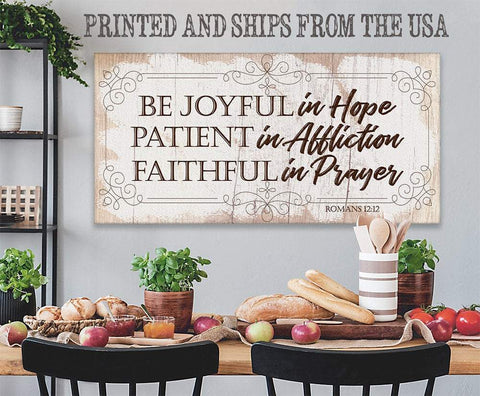 Image of Be Joyful In Hope-Large Canvas(Not Printed on Wood)-Stretched on Heavy Wood Frame- Great Religious Housewarming Gift Wall Hangings Lone Star Art