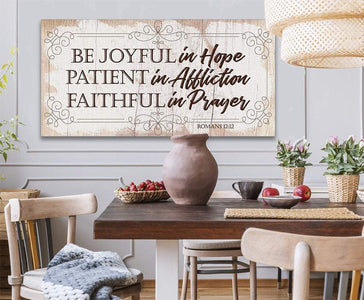 Be Joyful In Hope-Large Canvas(Not Printed on Wood)-Stretched on Heavy Wood Frame- Great Religious Housewarming Gift Wall Hangings Lone Star Art