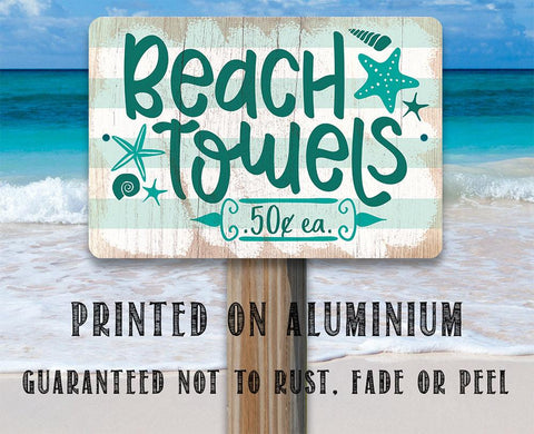 Image of Beach Towels - Metal Sign.