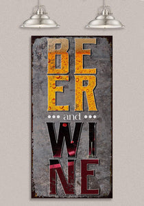 "Beer & Wine - Canvas Lone Star Art 12"" x 24"""