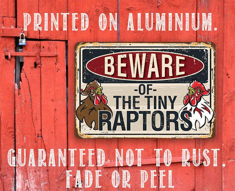"Image of Beware Tiny Raptors - 8"" x 12"" or 12"" x 18"" Aluminum Tin Awesome Metal Poster."
