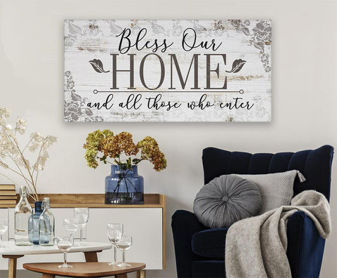 Image of Bless Our Home And All Those Who Enter - Canvas.