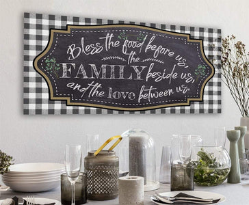 Bless The Food Before Us Large Canvas -Stretched on Wood-Perfect Dining Room Decor- Makes a Great Housewarming and Wedding Gift Wall Hangings Lone Star Art