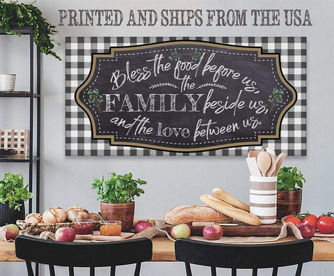 Image of Bless The Food Before Us Large Canvas -Stretched on Wood-Perfect Dining Room Decor- Makes a Great Housewarming and Wedding Gift Wall Hangings Lone Star Art