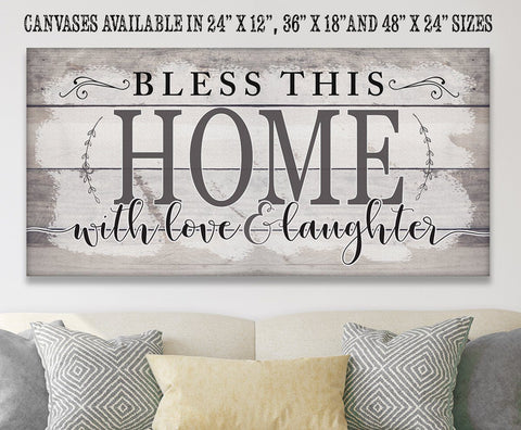 "Image of Bless This Home With Love-Large Canvas(Not Printed on Wood)Stretched on Wood-Couch, Living Room Decor- Great Housewarming Gift Wall Hangings Lone Star Art 12""x24"" Stretched"