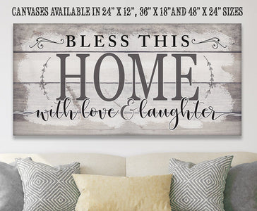 "Bless This Home With Love-Large Canvas(Not Printed on Wood)Stretched on Wood-Couch, Living Room Decor- Great Housewarming Gift Wall Hangings Lone Star Art 12""x24"" Stretched"