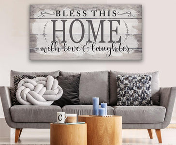 Bless This Home With Love-Large Canvas(Not Printed on Wood)Stretched on Wood-Couch, Living Room Decor- Great Housewarming Gift Wall Hangings Lone Star Art
