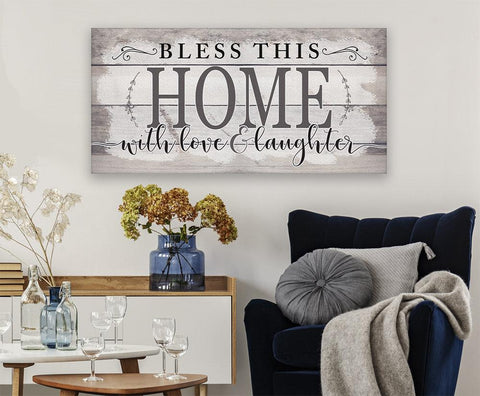 Image of Bless This Home With Love-Large Canvas(Not Printed on Wood)Stretched on Wood-Couch, Living Room Decor- Great Housewarming Gift Wall Hangings Lone Star Art