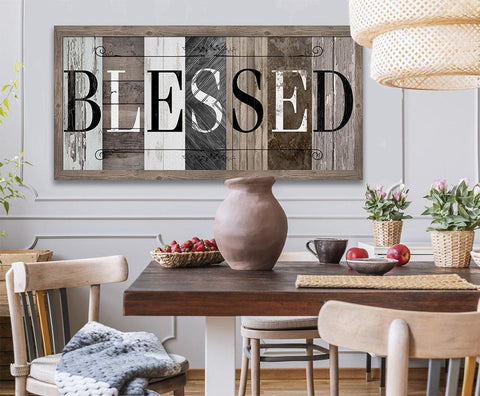 Image of Blessed in Multi Pattern - Canvas.