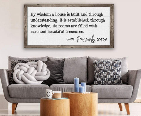 Image of By Wisdom Proverbs 24 - Canvas