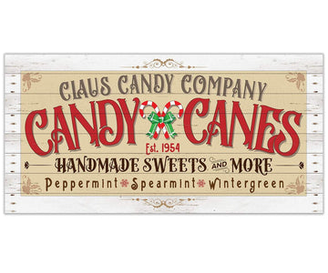 "Claus Candy Cane Co - Canvas Lone Star Art 12"" x 24"""
