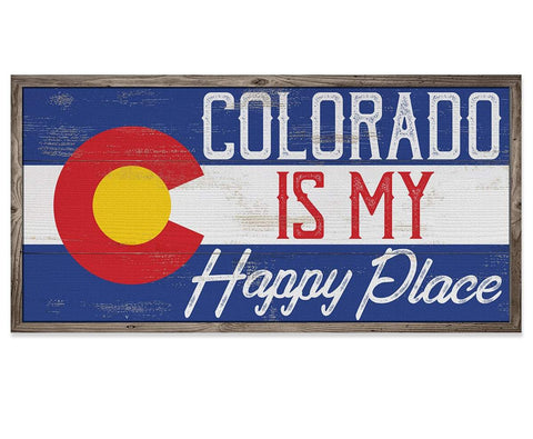 "Image of Colorado My Happy Place - Canvas Lone Star Art 12"" x 24"""