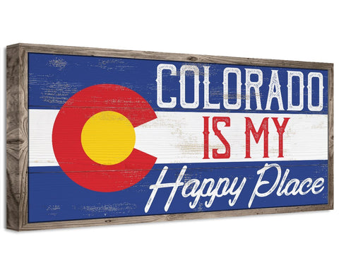 Image of Colorado My Happy Place - Canvas Wall Hangings Lone Star Art