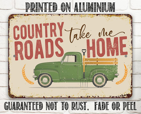 Image of Country Roads - Metal Sign.