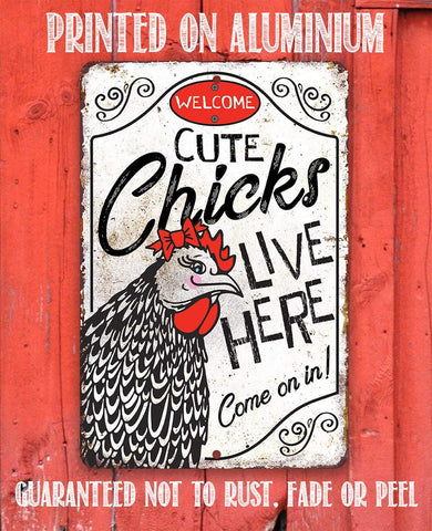 Image of Cute Chicks Live Here - Metal Sign.