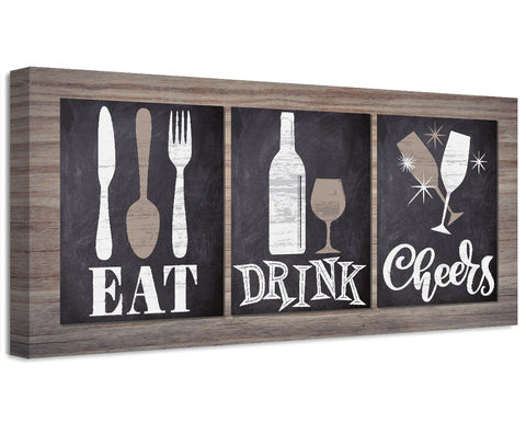 Image of Eat Drink Cheers - Canvas Wall Hangings Lone Star Art