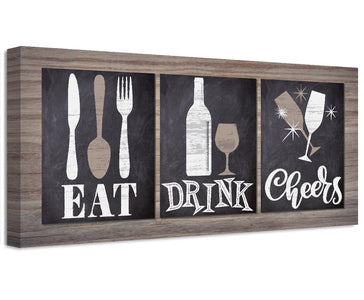 Eat Drink Cheers - Canvas Wall Hangings Lone Star Art