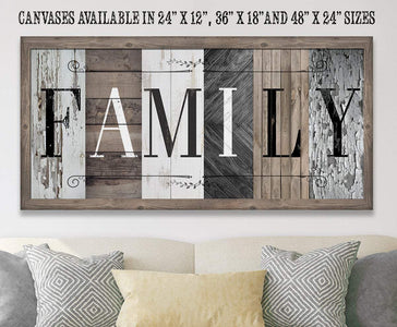 Family in Multi Pattern - Canvas.