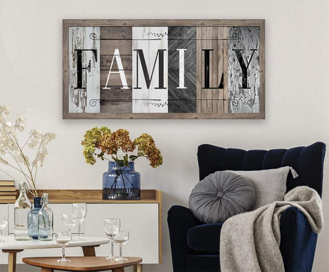 Image of Family in Multi Pattern - Canvas.