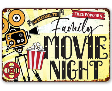Family Movie Night - Metal Sign Metal Sign Lone Star Art 8 x 12