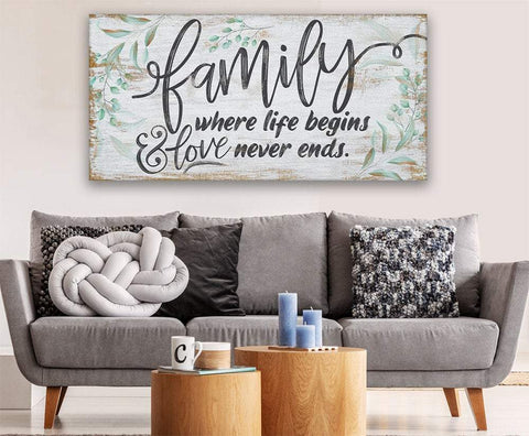 Image of Family Where Life Begins - Canvas.