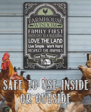 "Image of Farmhouse Wisdom - Metal Sign - 8"" x 12"" or 12"" x 18"" Use Indoor/Outdoor - Great Farmhouse Decor Lone Star Art"