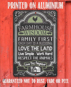 "Farmhouse Wisdom - Metal Sign - 8"" x 12"" or 12"" x 18"" Use Indoor/Outdoor - Great Farmhouse Decor Lone Star Art"