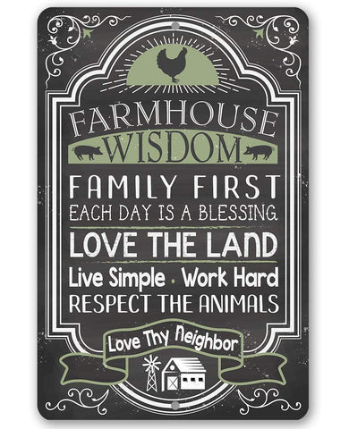 "Image of Farmhouse Wisdom - Metal Sign - 8"" x 12"" or 12"" x 18"" Use Indoor/Outdoor - Great Farmhouse Decor Lone Star Art 8 x 12"