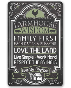 "Farmhouse Wisdom - Metal Sign - 8"" x 12"" or 12"" x 18"" Use Indoor/Outdoor - Great Farmhouse Decor Lone Star Art 8 x 12"