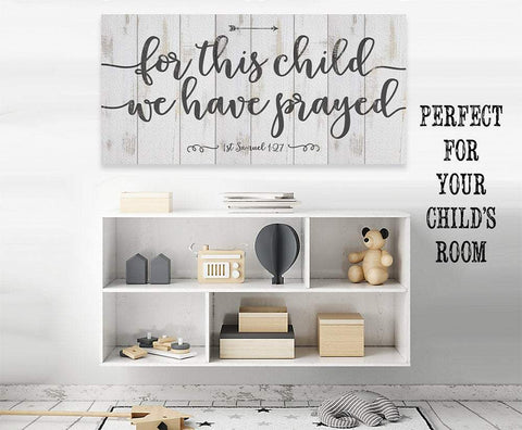 For This Child We Have Prayed-Large Canvas(Not Printed on Wood)Stretched on Wood-Nursery-Baby Shower Wall Hangings Lone Star Art