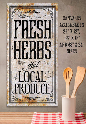 Image of Fresh Herbs and Local Produce - Canvas.
