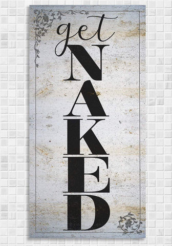 "Image of Get Naked Bath - Large Canvas Wall Art - Great Bathroom Decor, Housewarming or Wedding Gift Lone Star Art 12"" x 24"" Stretched"
