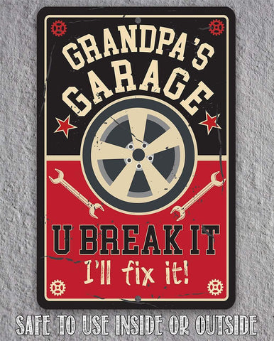 Image of Grandpa's Garage - Metal Sign Metal Sign Lone Star Art