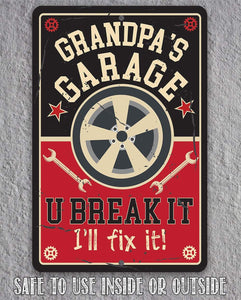 Grandpa's Garage - Metal Sign Metal Sign Lone Star Art
