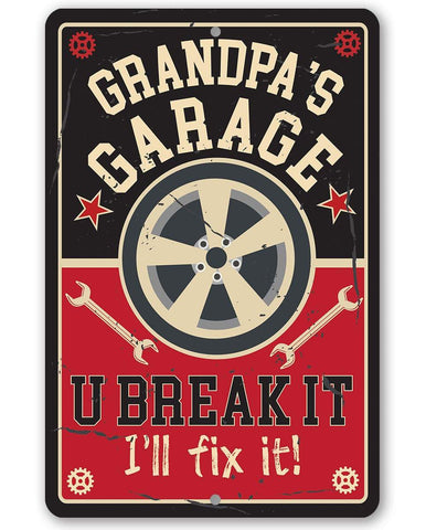 Image of Grandpa's Garage - Metal Sign Metal Sign Lone Star Art 8 x 12