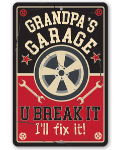 Grandpa's Garage - Metal Sign Metal Sign Lone Star Art 8 x 12