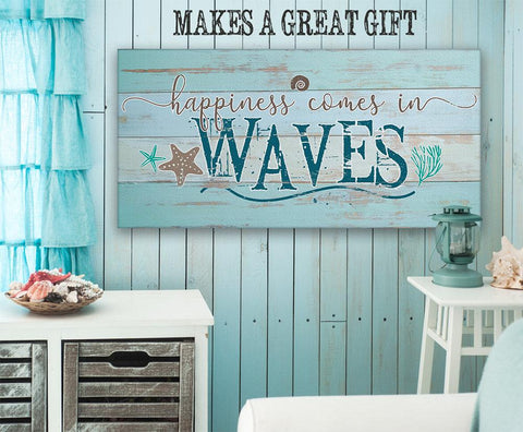 Image of Happiness Comes In Waves - Canvas.