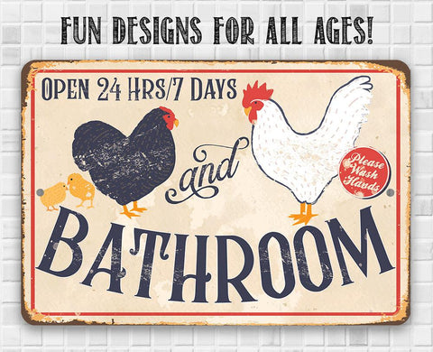 Image of Hen & Rooster Bathroom -Metal Sign.