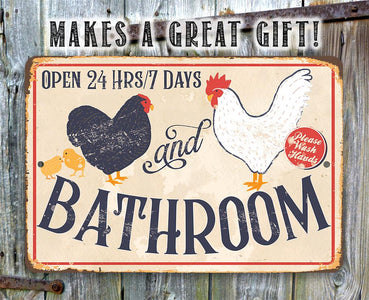Hen & Rooster Bathroom -Metal Sign.