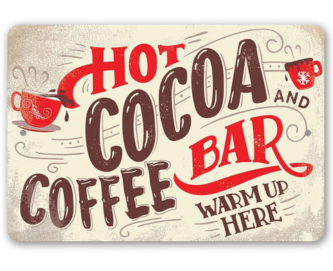 Image of Hot Cocoa and Coffee Bar- Metal Sign.